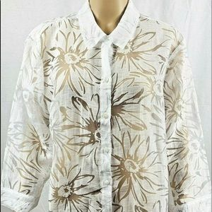63c39493cbf6ab Tops - Chico s blouse size 3 solid white sheer casual